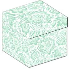 Mint Green And White Baroque Floral Pattern Storage Stool 12