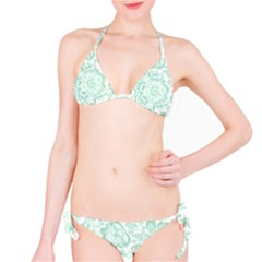 Mint green And White Baroque Floral Pattern Bikini Set