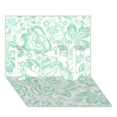 Mint green And White Baroque Floral Pattern I Love You 3D Greeting Card (7x5)