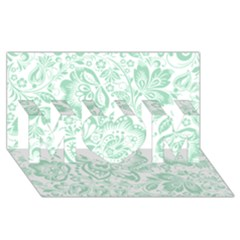 Mint Green And White Baroque Floral Pattern Mom 3d Greeting Card (8x4)