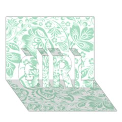 Mint Green And White Baroque Floral Pattern Girl 3d Greeting Card (7x5)