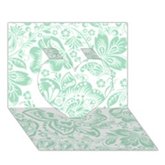 Mint green And White Baroque Floral Pattern Heart 3D Greeting Card (7x5)