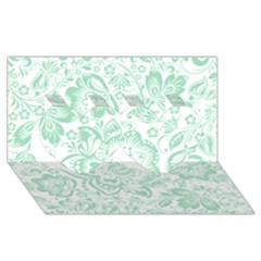 Mint green And White Baroque Floral Pattern Twin Hearts 3D Greeting Card (8x4)