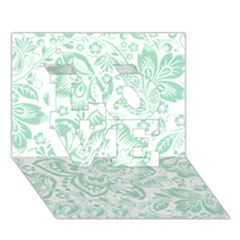 Mint green And White Baroque Floral Pattern LOVE 3D Greeting Card (7x5)