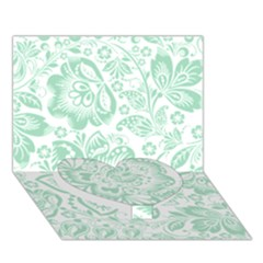 Mint green And White Baroque Floral Pattern Heart Bottom 3D Greeting Card (7x5)
