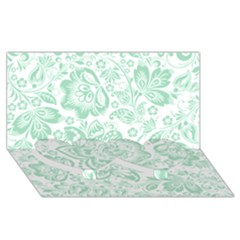 Mint green And White Baroque Floral Pattern Twin Heart Bottom 3D Greeting Card (8x4)