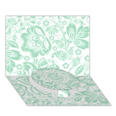 Mint Green And White Baroque Floral Pattern Circle Bottom 3d Greeting Card (7x5)