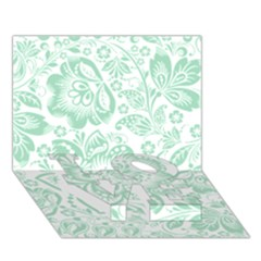 Mint green And White Baroque Floral Pattern LOVE Bottom 3D Greeting Card (7x5)