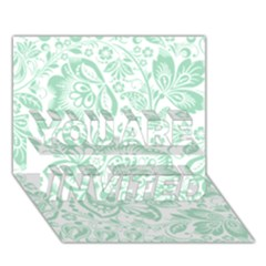 Mint Green And White Baroque Floral Pattern You Are Invited 3d Greeting Card (7x5)
