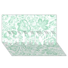 Mint green And White Baroque Floral Pattern #1 MOM 3D Greeting Cards (8x4)