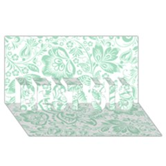 Mint green And White Baroque Floral Pattern BEST SIS 3D Greeting Card (8x4)
