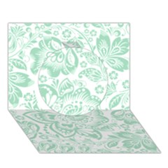 Mint green And White Baroque Floral Pattern Circle 3D Greeting Card (7x5)
