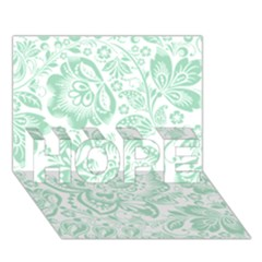 Mint green And White Baroque Floral Pattern HOPE 3D Greeting Card (7x5)