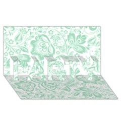 Mint Green And White Baroque Floral Pattern Party 3d Greeting Card (8x4)