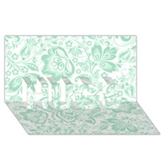 Mint green And White Baroque Floral Pattern HUGS 3D Greeting Card (8x4)