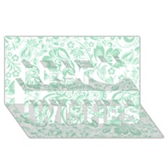 Mint green And White Baroque Floral Pattern Best Wish 3D Greeting Card (8x4)