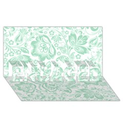 Mint green And White Baroque Floral Pattern ENGAGED 3D Greeting Card (8x4)