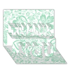 Mint green And White Baroque Floral Pattern THANK YOU 3D Greeting Card (7x5)