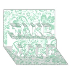 Mint green And White Baroque Floral Pattern TAKE CARE 3D Greeting Card (7x5)