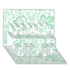 Mint Green And White Baroque Floral Pattern You Did It 3d Greeting Card (7x5)