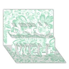 Mint green And White Baroque Floral Pattern Get Well 3D Greeting Card (7x5)