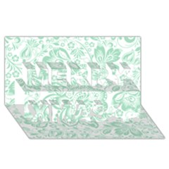 Mint green And White Baroque Floral Pattern Merry Xmas 3D Greeting Card (8x4)