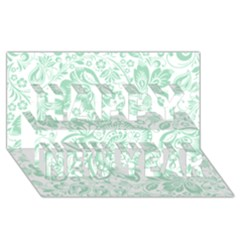 Mint green And White Baroque Floral Pattern Happy New Year 3D Greeting Card (8x4)