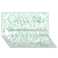 Mint Green And White Baroque Floral Pattern Congrats Graduate 3d Greeting Card (8x4)