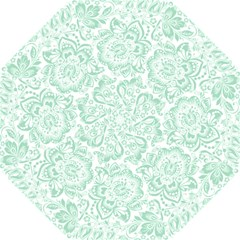 Mint green And White Baroque Floral Pattern Hook Handle Umbrellas (Small)