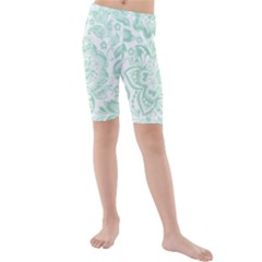 Mint green And White Baroque Floral Pattern Kid s swimwear