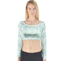 Mint Green And White Baroque Floral Pattern Long Sleeve Crop Top