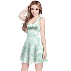 Mint green And White Baroque Floral Pattern Reversible Sleeveless Dresses