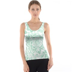 Mint green And White Baroque Floral Pattern Tank Tops