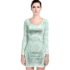 Mint green And White Baroque Floral Pattern Long Sleeve Bodycon Dresses