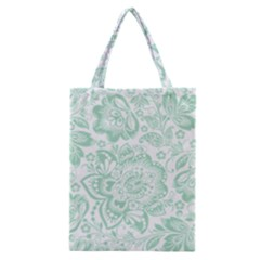 Mint green And White Baroque Floral Pattern Classic Tote Bags