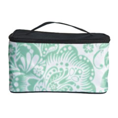 Mint green And White Baroque Floral Pattern Cosmetic Storage Cases