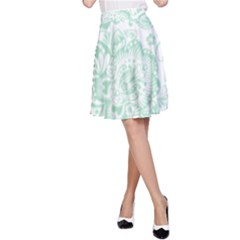 Mint green And White Baroque Floral Pattern A-Line Skirts