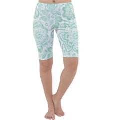 Mint Green And White Baroque Floral Pattern Cropped Leggings