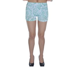 Mint Green And White Baroque Floral Pattern Skinny Shorts