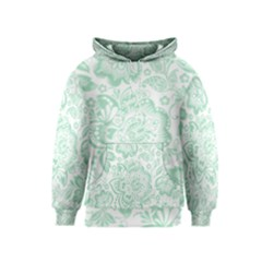 Mint Green And White Baroque Floral Pattern Kid s Pullover Hoodies