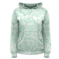 Mint Green And White Baroque Floral Pattern Women s Pullover Hoodies