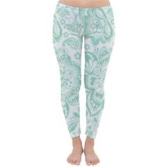 Mint Green And White Baroque Floral Pattern Winter Leggings