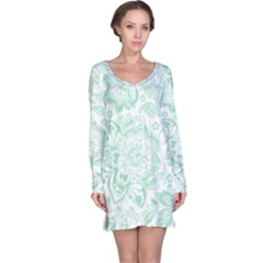 Mint Green And White Baroque Floral Pattern Long Sleeve Nightdresses