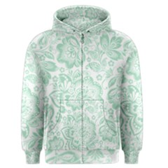 Mint green And White Baroque Floral Pattern Men s Zipper Hoodies