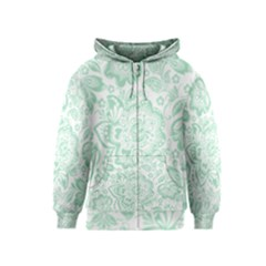 Mint green And White Baroque Floral Pattern Kids Zipper Hoodies