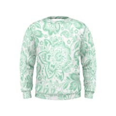 Mint Green And White Baroque Floral Pattern Boys  Sweatshirts