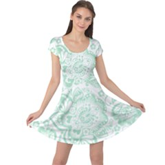 Mint Green And White Baroque Floral Pattern Cap Sleeve Dresses