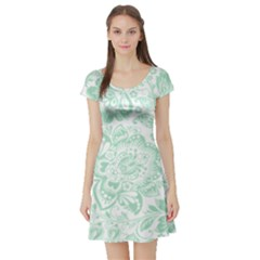 Mint green And White Baroque Floral Pattern Short Sleeve Skater Dresses