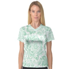 Mint green And White Baroque Floral Pattern Women s V-Neck Sport Mesh Tee