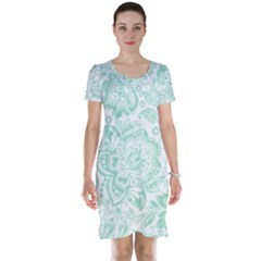 Mint Green And White Baroque Floral Pattern Short Sleeve Nightdresses